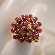Vintage Estate 12k Gold Ruby Domed Ring