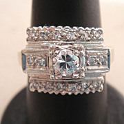 Estate 14k White Gold Art Deco Filigree Diamond Ring