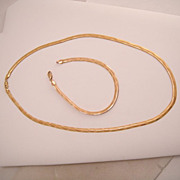 Estate 10k Yellow Gold Flat Weave Necklace and Bracelet Set