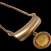 Estate 14k Gold Citrine Custom Made Pendant Necklace