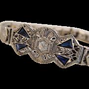 Art Deco 14k White Gold Sapphire Diamond Filigree Bracelet