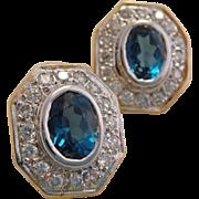 Estate 14k Gold London Blue Topaz Diamond Earrings