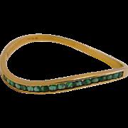 Estate 14k Yellow Gold Columbian Emerald Bangle Bracelet