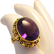 Vintage Art Deco 14k Gold Cabochon Amethyst Ring