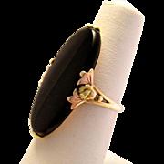 Art Deco 10K Rose Green Gold Onyx Flower Ring