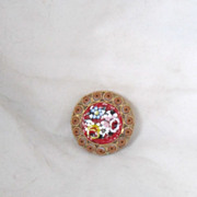 Vintage Italian Byzantine Micro Mosaic Multicolored Brooch