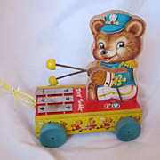 "Vintage Fisher Price ""Tiny Teddy"" Pull Toy Circa 1950's"