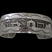 Vintage Navajo Sterling Silver Storyteller Bracelet