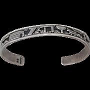 Vintage Navajo Sterling Silver Storyteller Bracelet Artist Signed