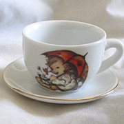 "Vintage ""Hummel "" Umbrella Girl Doll Size Cup And Saucer TOO CUTE!"