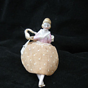 Vintage Circa 1920's Porcelain Half Doll With Legs Pincushion Excellent Condition