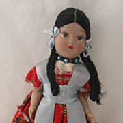 Vintage Hispanic or Native American Ethic Doll Circa 1960's Too Sweet!