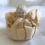 Adorable Vintage Bisque Pin Cushion Doll