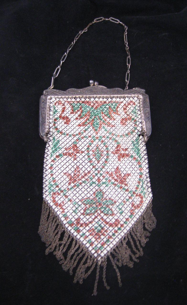 Antique Enamel Mesh Purse Signed Mandalian Mfg. Co.