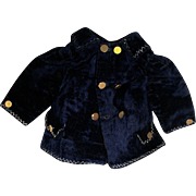 Antique Gorgeous Sailor Navy silk Velvet  Bebe Jacket