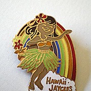 Vintage Hula Girl Pin Hawaiian Jaycees FREE SHIP