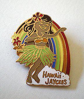 Vintage Hula Girl Pin Hawaiian Jaycees FREE SHIP