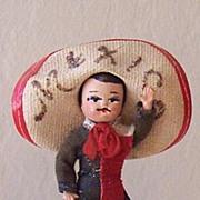 Vintage Mexican Souvenir Doll In Sombrero