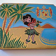 Vintage Hawaiian Compact With Hula Girl & Royal Crest