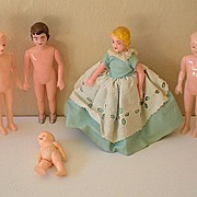 (6) Vintage Plastic Dolls May Be Sewing Models
