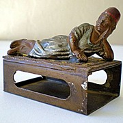 Fabulous Antique Bronzed Metal Match Box Holder Figural