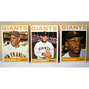 (3) 1964 Topps Baseball Cards Mays McCovey Marichal
