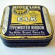 """Miller Line """"Elk"""" Typewriter Ribbon Tin Underwood"""