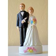 Vintage Bisque Wedding Cake Top Bride and Groom