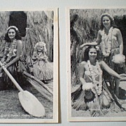 (2) 1940's Real Photo Hawaiian Hula Girl Postcards