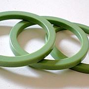 Set of (3) 1950's Green Lucite Plastic Bracelets *New Old Stock*