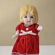 5 Inch Bisque Doll in Red Velvet Dress