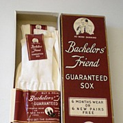 1940's Bachelor's Friend Sox Box w/ 3 Pairs of Socks
