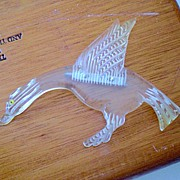 Large Vintage Reverse Carved Lucite Duck Pin Brooch