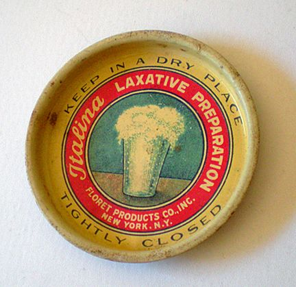 Old Tin Advertising Lid Laxative Colorful Graphics