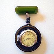 1930's Elbon Watch Pendant With BAKELITE Bar