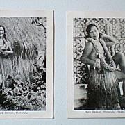 (2) Old Hawaiian Hula Girl Photographs