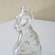 Old Figural Glass Candy Container Sitting Dog