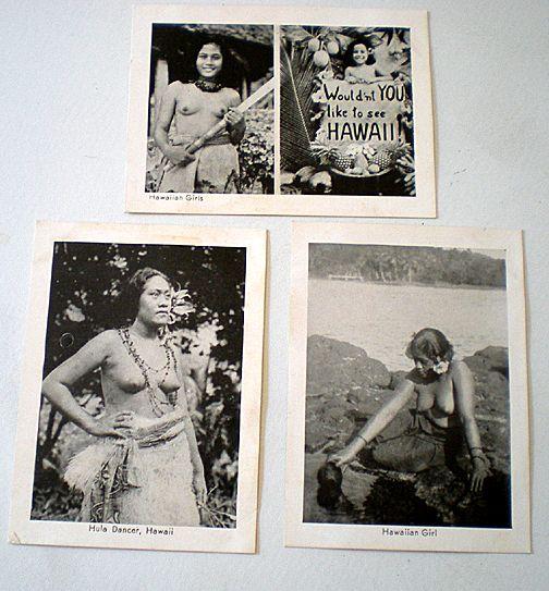 (3) Real Photo Souvenir Cards Hawaiian Hula Girls