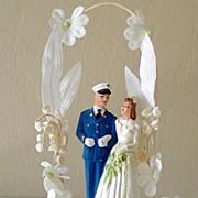 1950 Chalk Wedding Cake Topper Bride & Military Groom