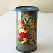1930's Child's Tin Saving Bank