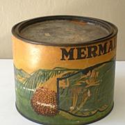 """LARGE Old Advertising Tin """"Mermaid Brand"""" Dates"""
