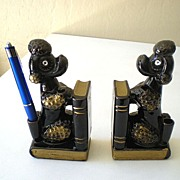 Pair Poodle Bookends Pen Holders