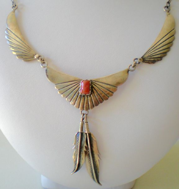Signed Vintage Native American Necklace Sterling and Coral