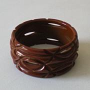 HUGE Deeply Carved 1930s BAKELITE Bracelet