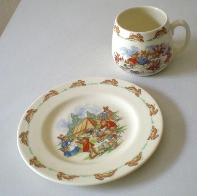Royal Doulton Bunnykins China Child's Set Cup and Plate Set