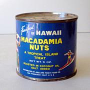 1950s UNOPENED Key Wind Adverting Tin Hawaii Macadamia Nuts