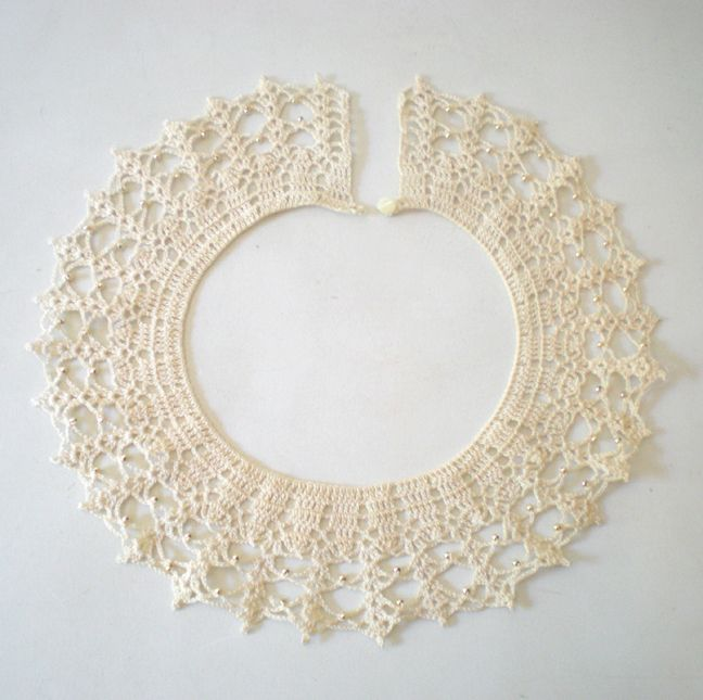 Lovely Old Hand Crochet Collar w/ Gold Beads