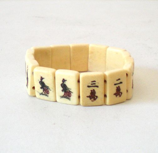 Old Carved Tiles Bracelet Chinese Characters