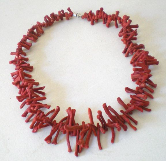 Vintage Orange/Red Branch Coral Necklace