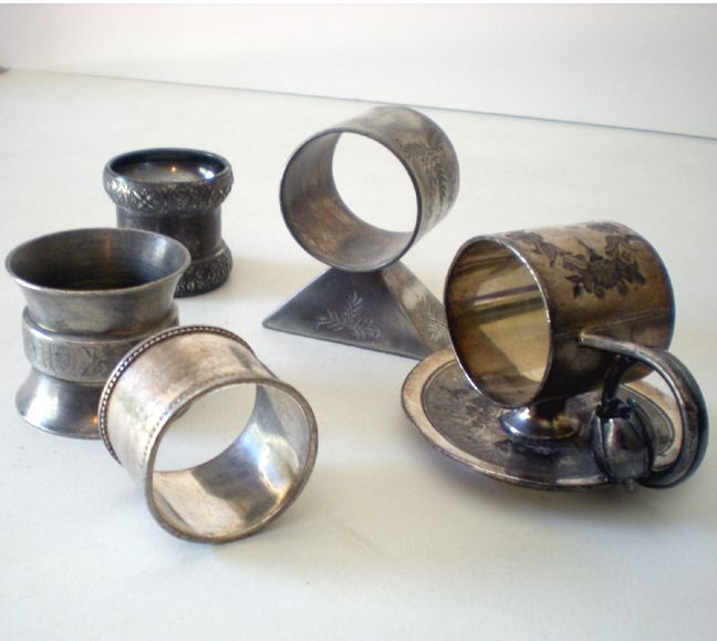 (5) Antique Silverplate Victorian Napkin Rings